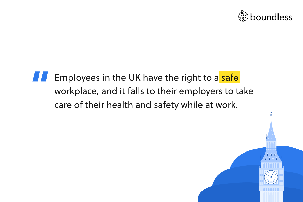 Employees in the UK have the right to a safe workplace, and it falls to their employers to take care of their health and safety while at work.