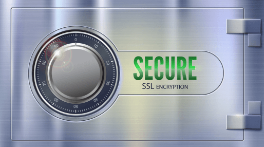 A safe with a rotating lock that spells out Secure SSL Encryption