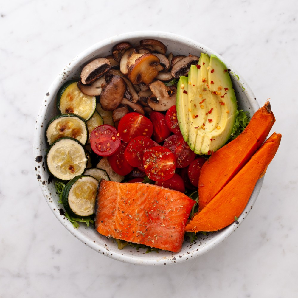 Salmon,Mushroom, Zucchini, Sweet Potato + Avocado Bowl Brava Oven