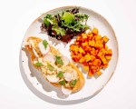 Chicken Salad Toast with Sweet Potatoes and Side Salad Recipe Meal Prep Brava Oven