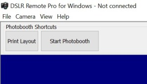 Shows DSLR Remote Pro 3.8.1 main screen with 2 Photobooth Shortcut buttons