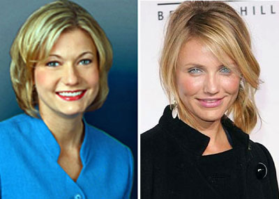 Closing out the Hollywood/WLOS connections: Holly Hedrick and Cameron Diaz.