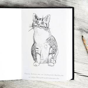 Pen and Ink Drawing of a Cute Liitle Kitten - Sketch 382
