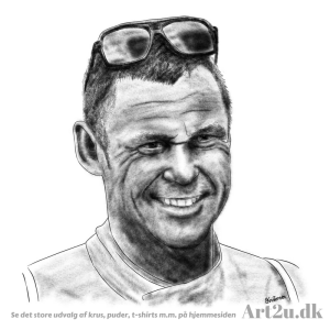 Pen and Ink Drawing of Racerdriver Tom Kristensen - Sketch 507