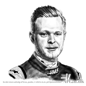 Pen and Ink Drawing of Racerdriver Kevin Magnussen - Sketch 514