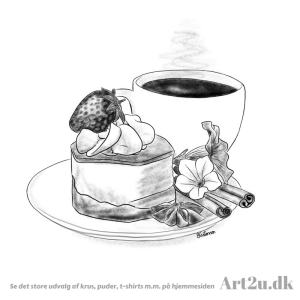 Pen and Ink Drawing of Coffee and Cake - Sketch 518