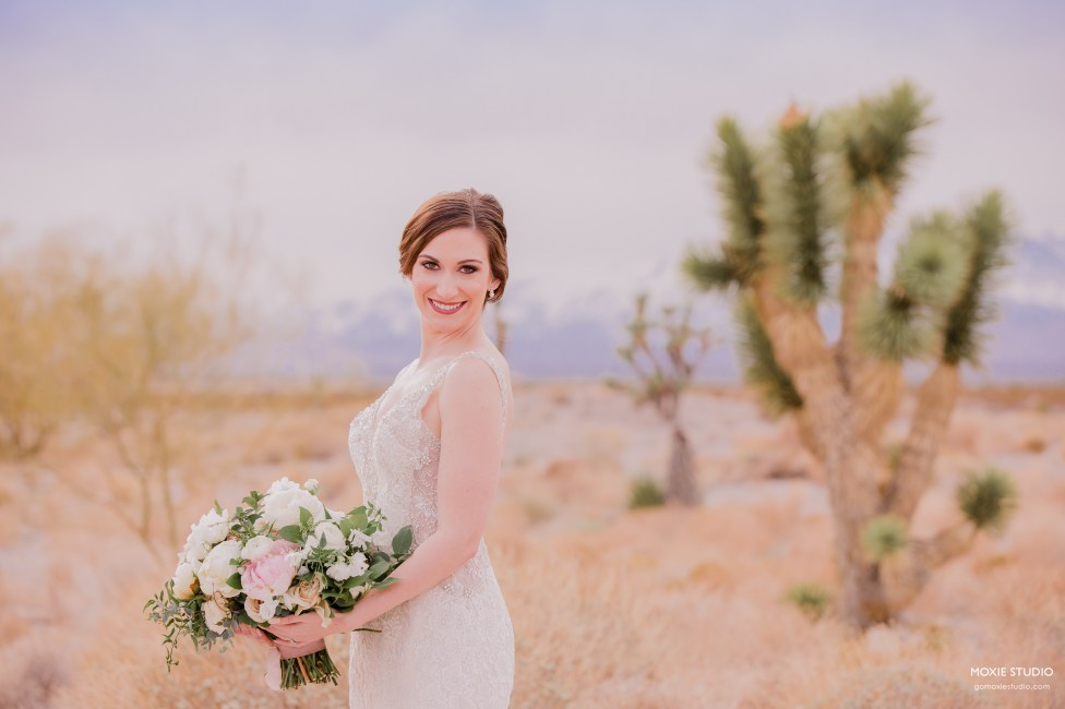 Bride with bouquet at Paiute