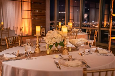 White flowers outdoor ceremony at a luxurious las vegas destination wedding.