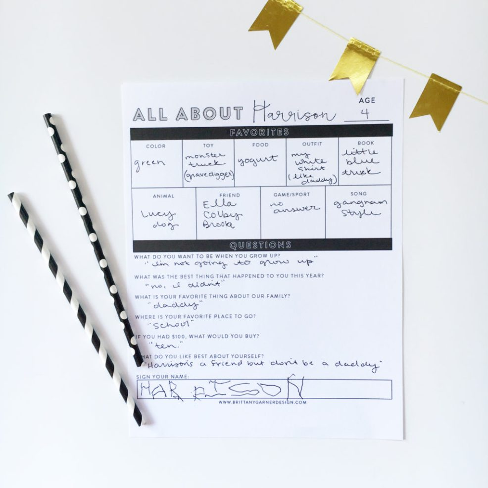 All About Me Yearly Birthday Interview Printable