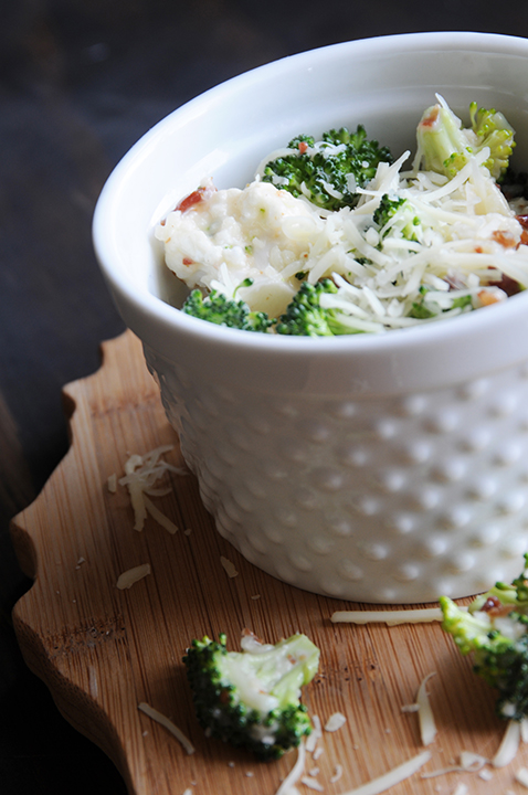 Broccoli Cauliflower Salad With Cheese And Broccoli Florets