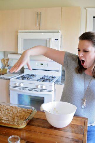Erin Making Pumpkin Slice Recipe From Bronner's Cookbook