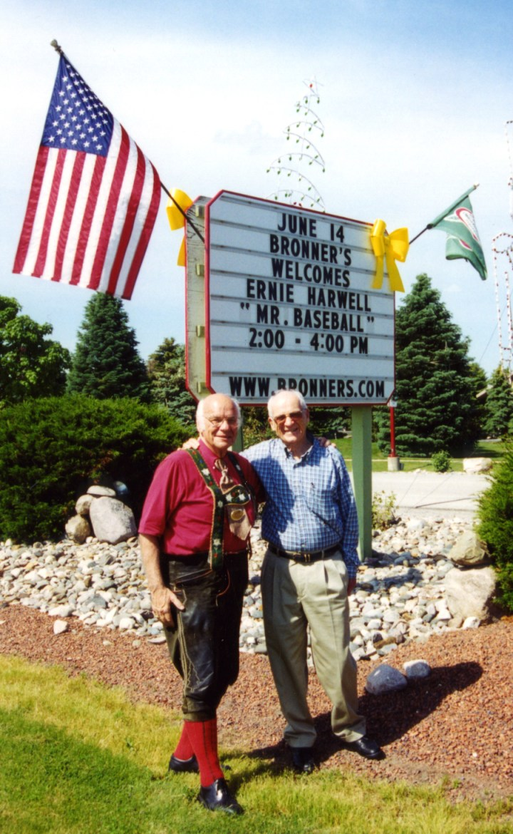 Ernie Harwell and Wally Bronner by sign