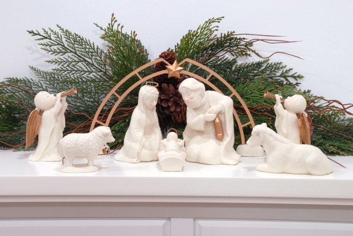 White And Gold Department 56 Nativity On Mantle, 1190271
