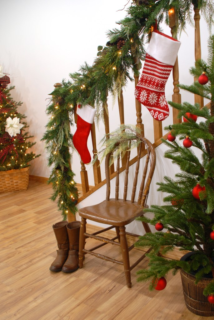 Christmas Decorating, Stocking On Stairs, Garland On Banister