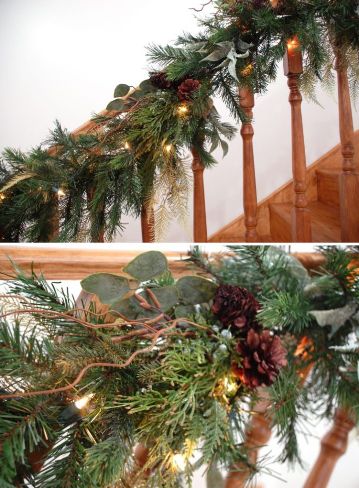 Winter Garland Displayed On Banister