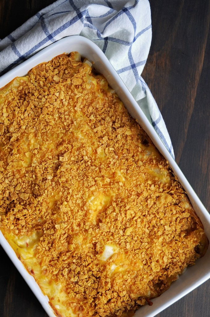 Cheesy Potatoes Topped With Cornflakes