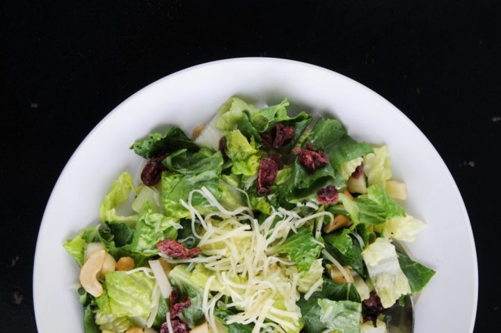 Festive Salad With Cashews, Cheese And Dried Cranberries