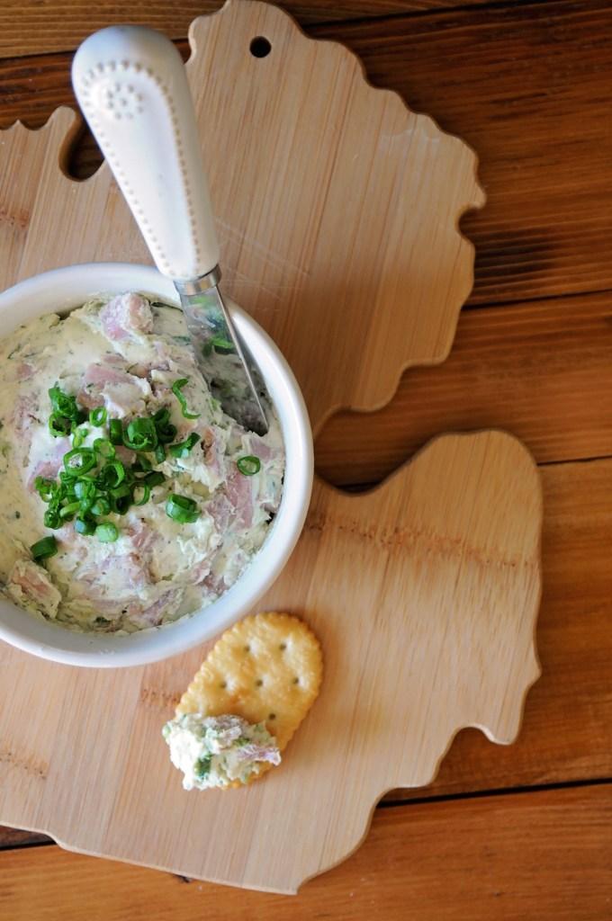 Ham Roll Ups Dip On Michigan Breadboard With Cracker