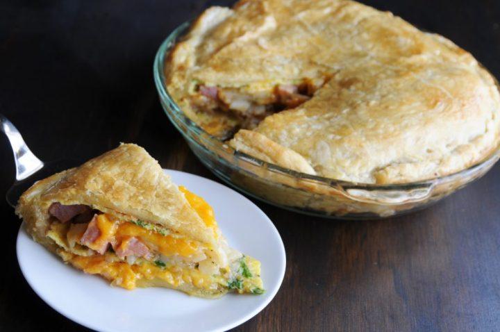 Ham Omelette Pie Slice On Plate