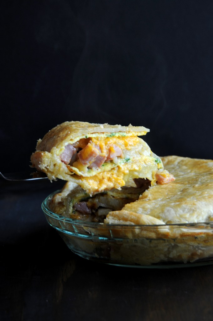 Steaming Hot Ham Omelette Pie Slice