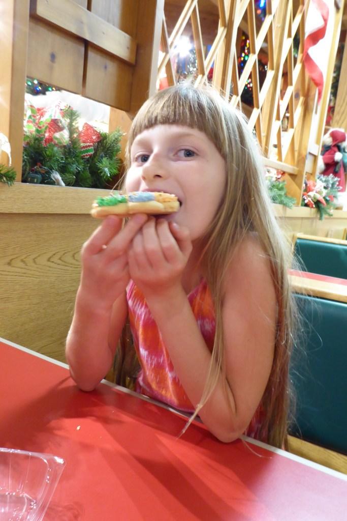 Sarah enjoying a cookie