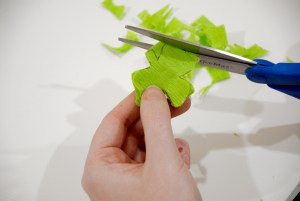 Cutting Crepe Paper Shamrock Garland