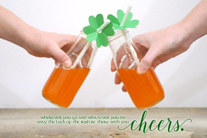 Irish Cheer St. Patrick's Day Shamrock Straw Topper, Orange Soda Cheers