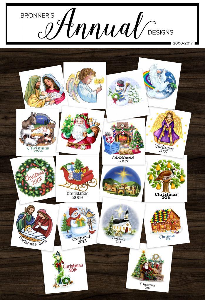 Bronner's Christmas Wonderland's Exclusive Annual Glass Christmas Ornament Designs 2000-2017