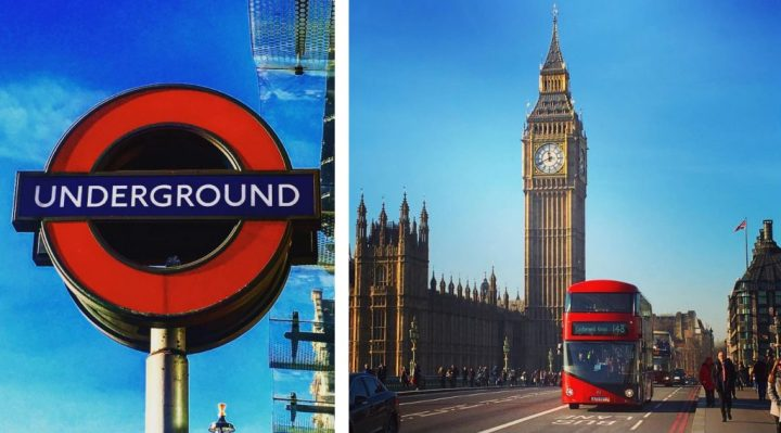 Underground Sign in London, England and Big Ben With a Double Decker Bus