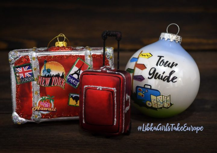 Suitcase And Tour Guide Glass Christmas Ornaments