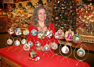 Bronner's Ornament Artist Connie Larsen With 10 Years Of Her Designs For Our Exclusive Annual Ornament Collection.
