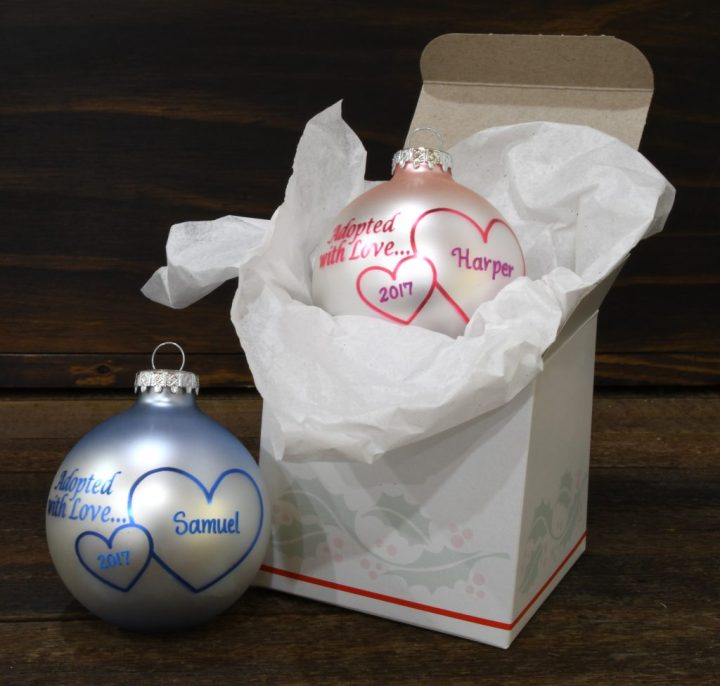 Adopted With Love Glass Ornaments From Bronner's Christmas Wonderland