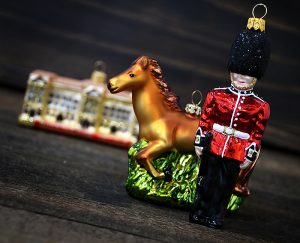 London Royal Guard, Running Horse And Buckingham Palace Glass Christmas Ornaments From Bronner's Christmas Wonderland