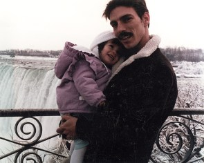 Father and daughter at Niagara Falls.