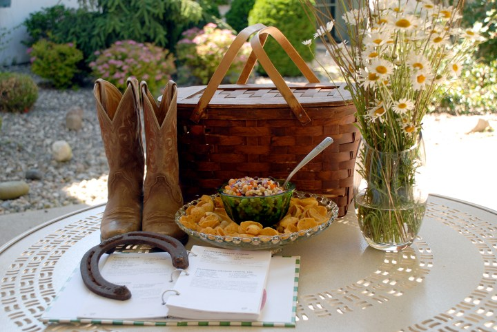 Cowboy Caviar With Cowgirl Boots, Picnic Basket, And Daisies.