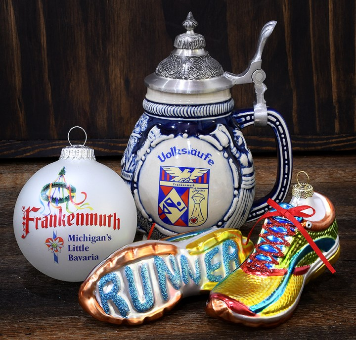 Frankenmuth and Running Shoes Ornaments with Volkslaufe beer stein