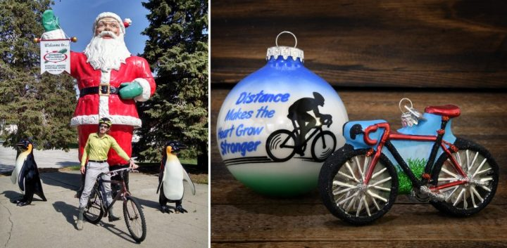 Left: Dietrich Bronner bikes to work every day. Right : Bronner's biking ornaments.
