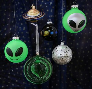 Martian Marathon and space themed ornaments