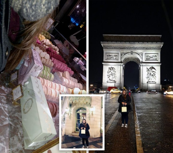 Ladurée, a French patisserie famous for its macarons and Arc de Triomphe at night.