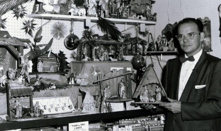 Originator Wally Bronner Holding A Nativity Scene