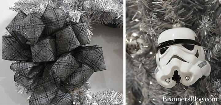 Ribbon bow and Stormtrooper helmet glass ornament