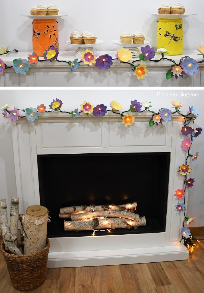 DIY Cupcake Wrapper Flower Lights For Spring Decor