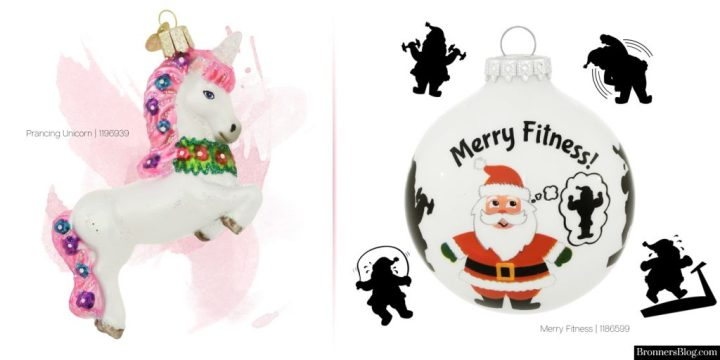 """Honorable mentions: unicorn ornament and """"Merry Fitness"""" Santa for your favorite fitness buff."""