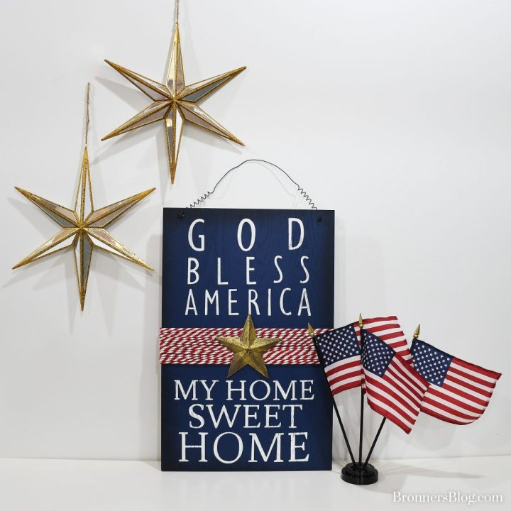 God Bless America My Home Sweet Home Plaque And American Flag Display With Mirror Stars.
