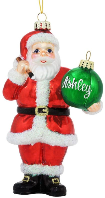 Personalized Santa With Ornament Exclusive Glass Ornament from Bronner's Christmas Wonderland.
