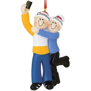 Personalized Selfie Couple Christmas Ornament.
