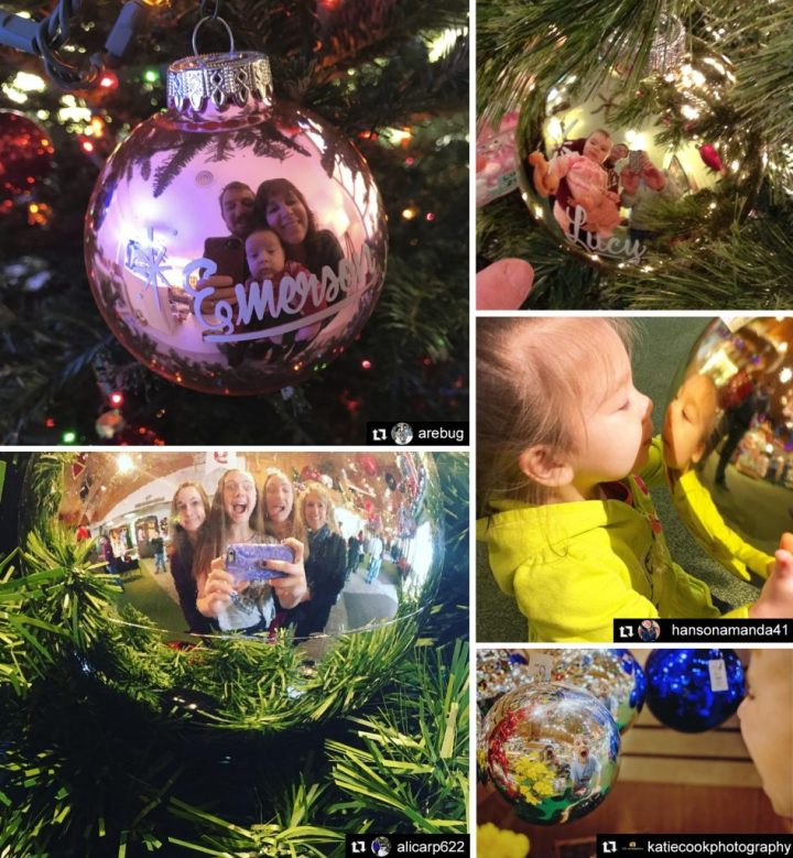 Selfie and Family Photos Reflected In A Christmas Ornament