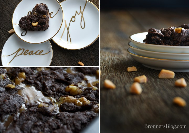 rich chocolaty brownie bars with sweet swirled gooey caramel and crunchy walnuts
