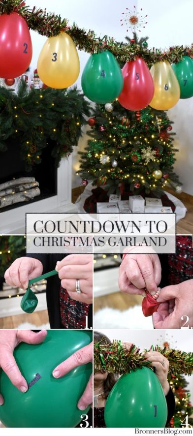 Balloons Filled With Candy Treats On A Tinsel Garland Makes A Countdown To Christmas Fun