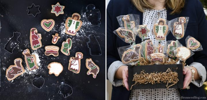 Deocrated sugar cookies with icing tell the nativity story with cookie cutters from Bronner's